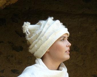 Felted Hat Handmade Merino wool -  A unique white cap