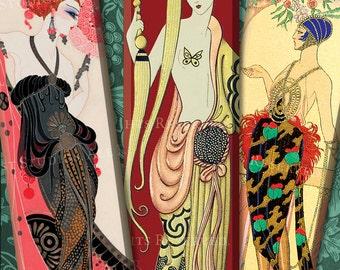 Art Deco Women - 1x3 Inch Digital Collage Sheet - Microscope Slide Images - Erte, Barbier, etc. - Art Deco Printables - Download and Print