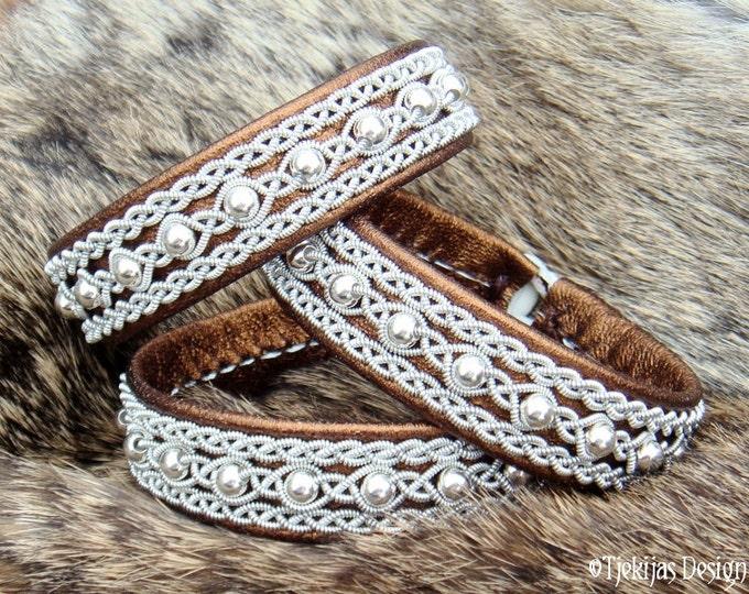 Sami Bracelet YDUN Bronze Lambskin Nordic Tundra Lapland Bracelet with Sterling Silver Beads - Handcrafted Natural Tribal Elegance