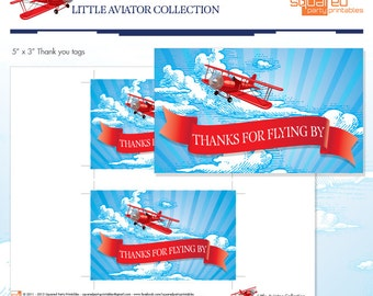 LIttle Aviator Printable Birthday Large Thank You Tags - Red and Blue - DIY Print - Airplane Party - Instant Download