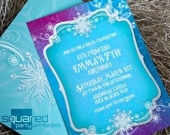 Frozen Invitation - Printable Ice Princess - Winter Snowflakes Invitation - DIY Print -Do-It-Yourself Printables - Invites
