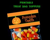 INSTANT DOWNLOAD - Printable - Pumpkin Teeth - Halloween Treat Bag Toppers -