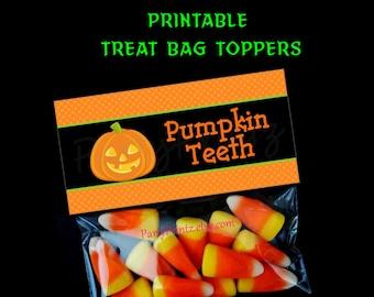INSTANT DOWNLOAD - Printable - Pumpkin Teeth - Halloween Treat Bag Toppers -