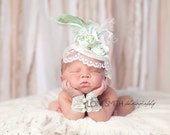 Pale Mint, Gold and Ivory Fascinator Hat Photo Prop w/ Fabric Flowers, Lace Veil, Strand of Pearls, Peacock, Ostrich, Goose Feathers