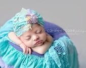 Lavender, Aqua and Ivory Newborn Slouch/Turban Hat Photo Prop