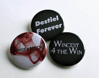 "Destiel | Supernatural Inspired 1.5"" Pins - Badges"