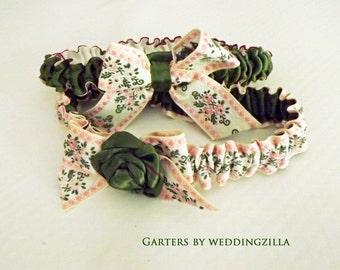 Victorian Wedding Garter Set /Pink Green Floral Garter Set  OOAK