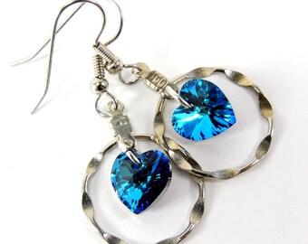 Circled Heart Earrings  Bermuda Blue Swarovski Crystal Pendants & Hammered Circle Charm  Hypoallergenic Beaded Jewelry  ALS Awareness