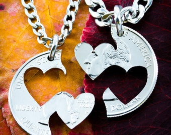 Double Heart Necklace, Couples jewelry hand cut coin