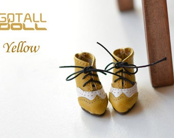 GOTALL doll handmade Vintage High Heels Short Boots for Blythe doll - doll shoes - Yellow