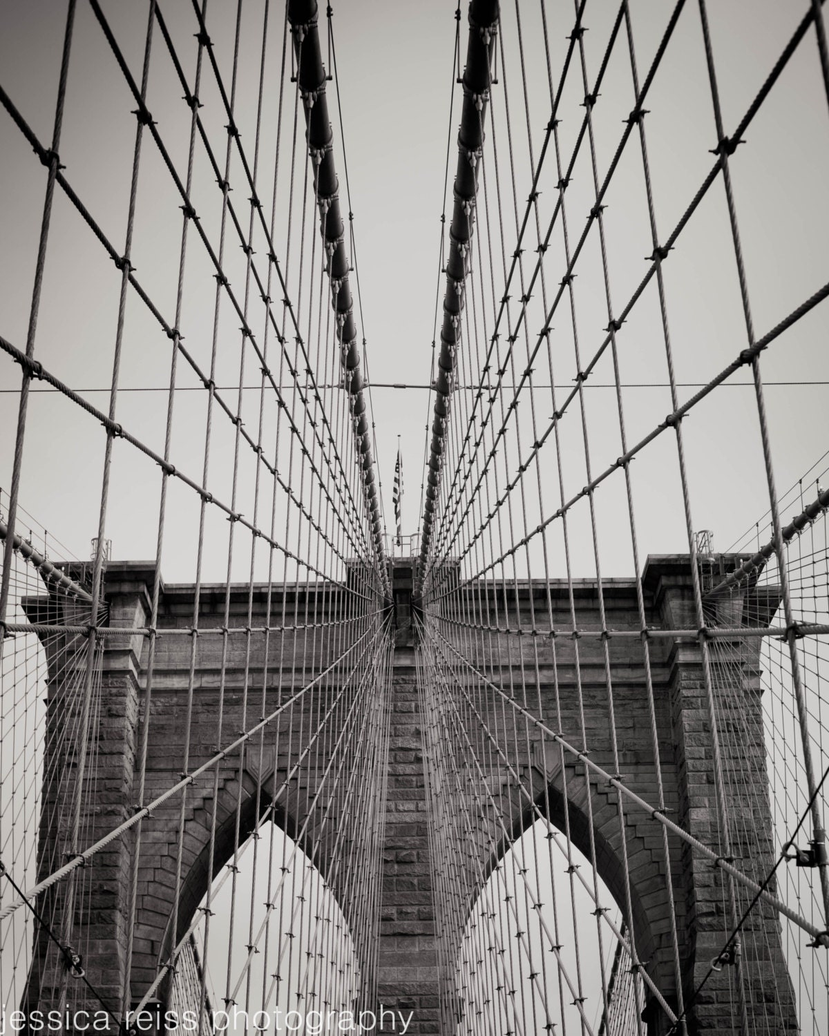 Black and White Brooklyn Bridge Art Print NYC New York City