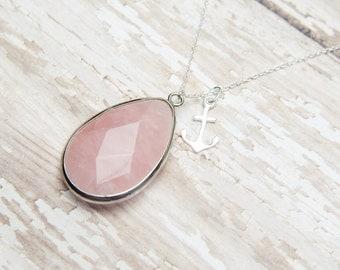Silver Anchor Necklace   Large Rose Pink Teardrop   Ice Pink Bridesmaids   Wedding Bridal Everyday Nautical Jewelry   Statement Pendant
