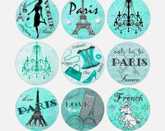 Teal Paris Printable 1-Inch Circles / Bottlecap Images / French Poodle, Eiffel Tower, Vintage / Mint Aqua Green Seafoam / Instant Download