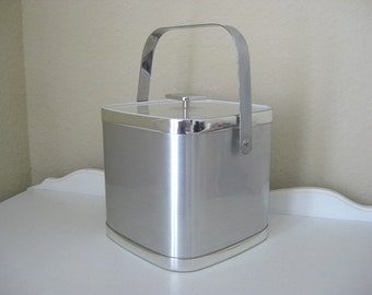 Vintage Ice Bucket - Silver and Chrome - Culver - 1960's - Retro Ice Vessel