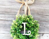 Mini MONOGRAM Boxwood Wreath-Mini Wreath-Scented Window Wreath-Personalized Gift-Initial Boxwood Wreath-Wall Hanging-Wall Decor-