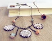 Dictionary Necklace love definition, retro dictionary page necklace. Dictionary jewelry Statement necklace, vintage natural history necklace