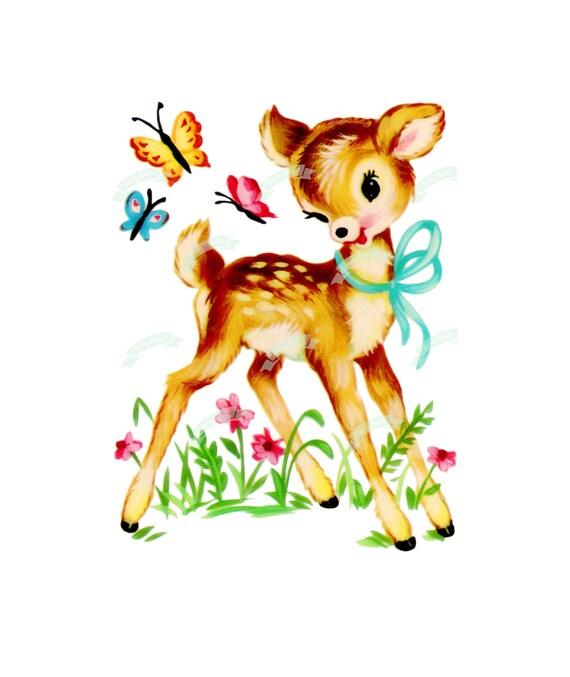 Vintage Digital Download Cute Bambi Vintage Greeting Card