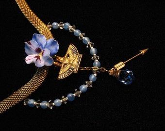 Wearable art Statment necklace with Crown Derby  pansy, vintage glass beads, and Isis charm keepsake