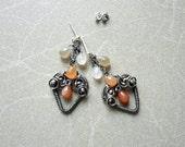 Sterling silver earrings, wire wrapped earrings, Moonstone studs, peach coral earrings, heart shape, dangle studs
