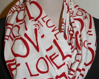 """Red On Cream Love Infinity Scarf-Circle Loop Scarf  9"""" X 64""""L-Valentines Day Gift- Jersey Knit Scarf"""