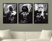 Star Wars All Black Darth Vader, Stormtrooper and Boba Fett Poster Set