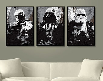 Star Wars All Black Darth Vader, Stormtrooper and Boba Fett Poster Set