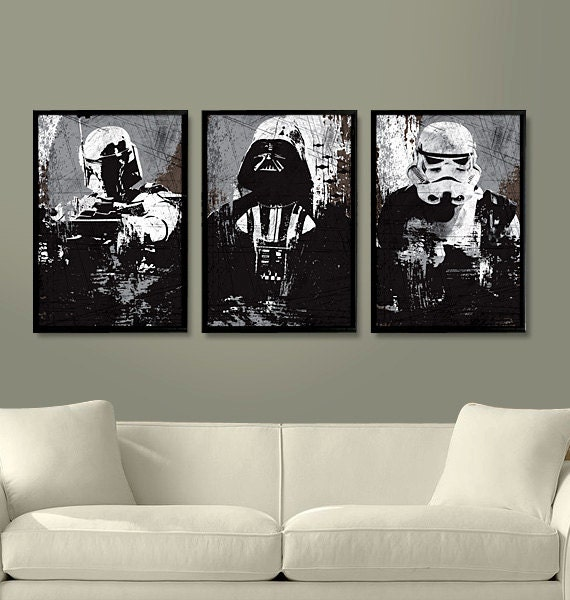 Star Wars All Black Darth Vader Stormtrooper and by Posterinspired