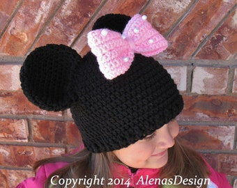Crochet Pattern 100 - Crochet Hat Pattern for Child's Minnie Mouse Hat Mickey Mouse Hat Toddler Boy Girl Teen Adult Hat Pattern Mouse Ears
