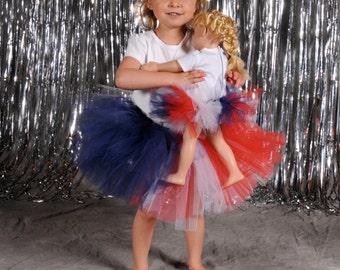 4th of July Tutu:  American Flag Toddler Tutu - Red, White, & Navy Blue Patriotic Tutu