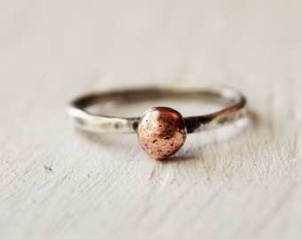 Copper Ball Ring - Mixed Metal Hand Forged Ring - Copper and Sterling Silver -  Custom Size - Christmas