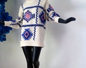 WOOL Vintage 60s MOD Southwest Sweater Navajo Indian Design1960s Ski Sweater Pink Purple Tunic Length Hand Knit Pendleton meets Twiggy Large