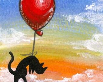 Black Cat Print, Balloon Art, Any Size, Large Wall Art, Colorful Artwork, Rainbow Decor, Kids Room Art, Baby Nursery, Pet Memorial Gift