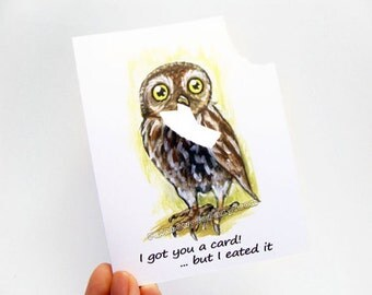 Funny Card, Owl Art, Blank Greeting Card, Thinking of You, Custom Name, Personalized Message, Happy Birthday, Any Occasion, Bird Art