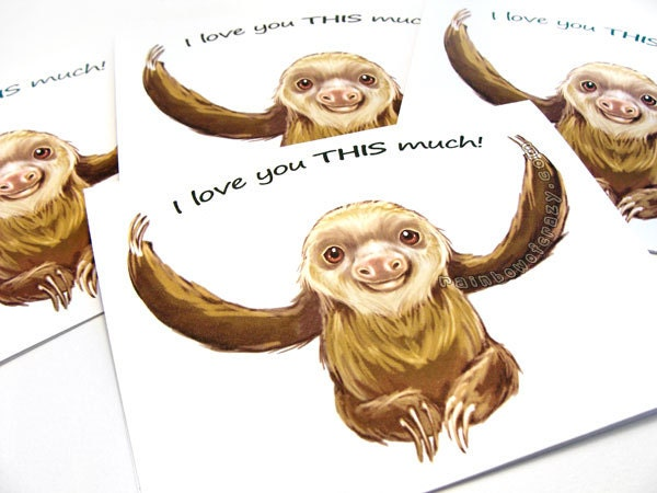 sale sloth card set of  cards i love you this by rainbowofcrazy, Birthday card