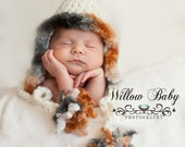 Baby Hat - Cream Baby Bonnet with Faux Fur Trim - Very Soft and Cozy