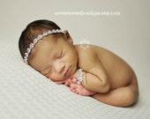 Pink Newborn Rhinestone Halo Headband Newborn Headband And Bracelet Set Newborn Headband Baby Headband Baby Jewelry Newborn Jewelry
