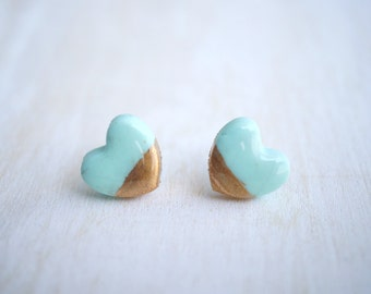 Mint and Gold Heart Stud Earrings