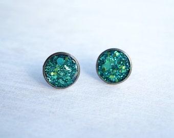 Large Teal Green Glitter Stud Earrings