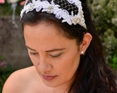 Sample sale Gatsby inspired silver and white 1920s bridal headpiece 'Gatsby Glamour'