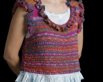 """Vest bodice tank top handknitted variegated cotton yarn with ruffles, size S-M, """"Summer Berries"""""""