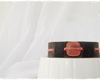 Protection Crystal Bracelet, Nature Spirit Cuff, Heart Chakra Bracelet, Leather Bracelet With Snap Closure, Watermelon Tourmaline Bracelet