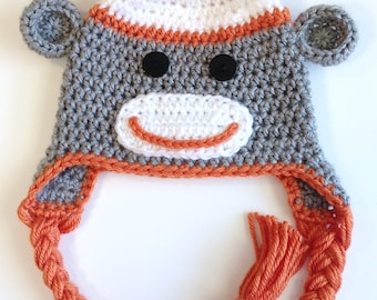 Sock Monkey Hat, Baby Boy Hat, Crochet Baby Hat, Newborn Baby Hat, Adult Sock Monkey Hat, Child Sock Monkey Hat, Teen Sock Monkey Hat