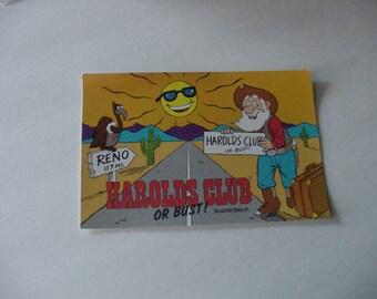 Historic Closed Harolds Club or Bust Vintage Post Card Collectors Series #1 Reno Unused Obsolete