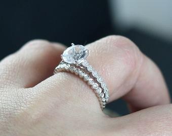 White Sapphire Diamond Eternity Bubble Circle Bezel Engagement Ring Set Ferarelle 2ct 8mm Custom White-Yellow-Rose Gold-10k-14k-18k-Platinum