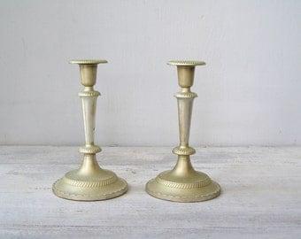 Vintage Silver Candlesticks, Silver Plated Candlesticks Art Deco, Vintage Wedding Table, Retro Metal Candlesticks Mid Century Candleholders
