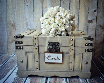 Large-distressed-beach-wedding-trunk-wedding trunk-suitcase-vintage inspired-card and gift holder-XL-wood box-hope chest-chest-shabby-sign