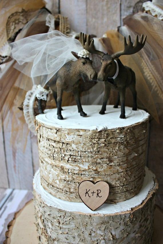 Moose Wedding Cake Topper Alaskan Moose Moose Cake