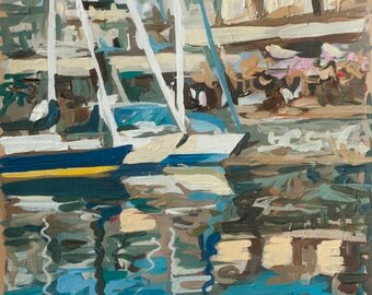 "Vancouver Cityscape Painting // Three Boats (Vancouver no. 15) // 8"" x 14"" // Original Acrylic Painting on Paper"