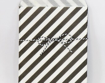 Black and White Party Favor Bags Stripe Treat Bags Black and White Party Supplies Birthday Party Goodie Bags Halloween Party / Set of 12