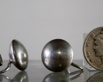 Vintage Earrings 925 Sterling Silver Round Screw Back Disc Made by Genco Jewelry Earrings Ready to Wear DanPickedMinerals